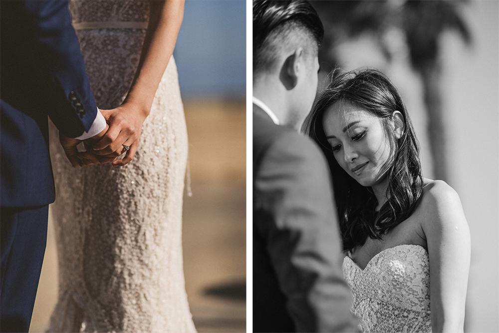 bride groom holding hands santa monica beach