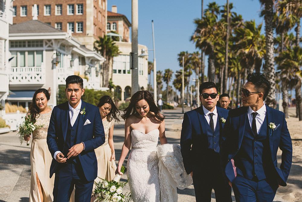Walking down Santa Moncia Wedding